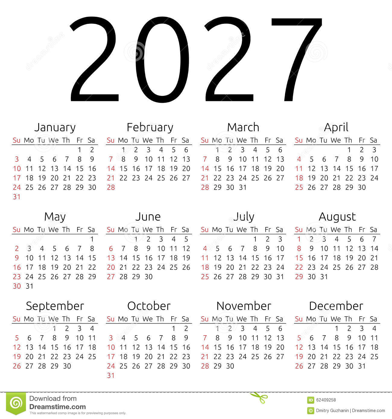 Vector calendar 2027, Sunday