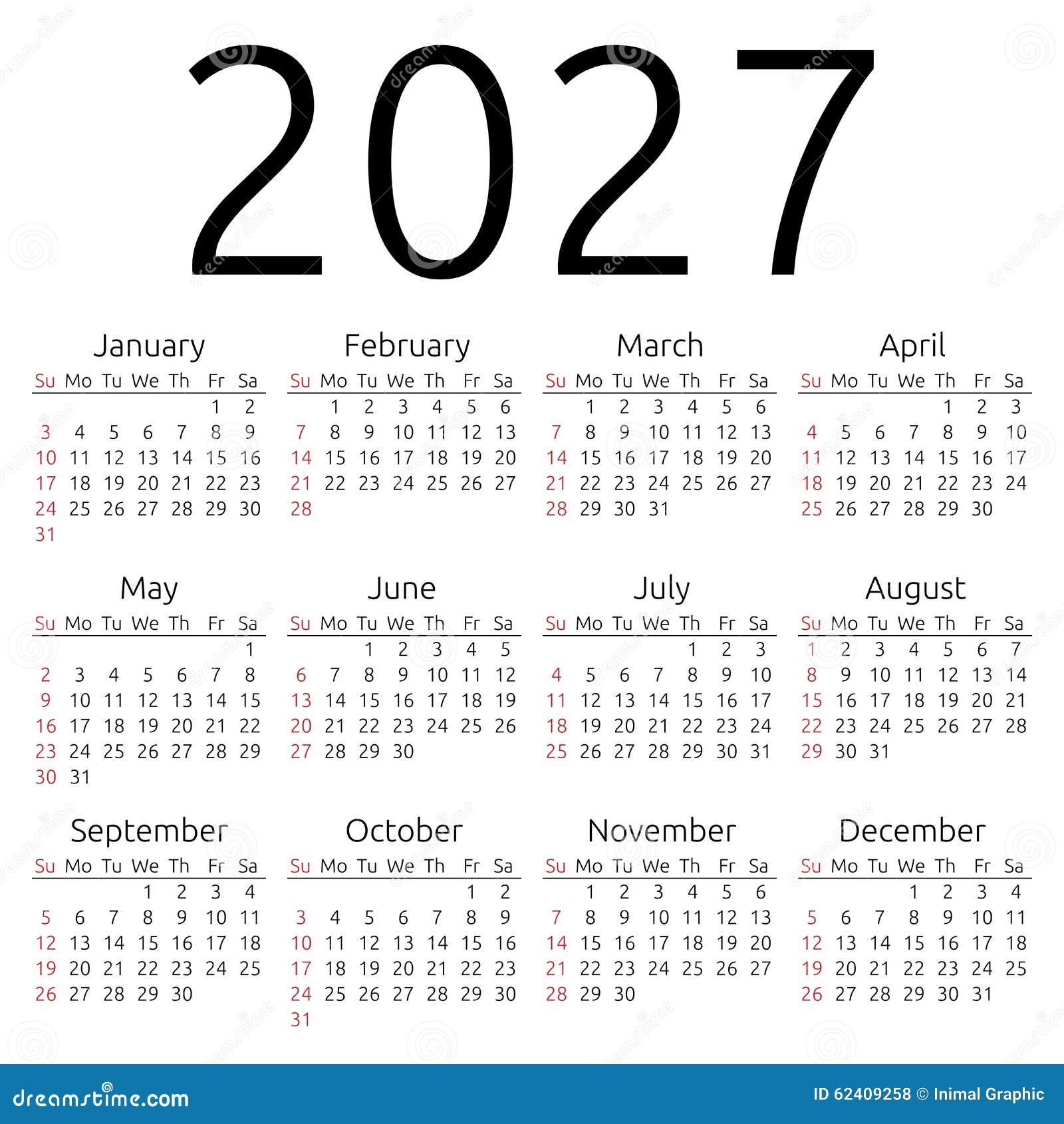Vector Calendar 2027 Sunday Stock Vector Image 62409258