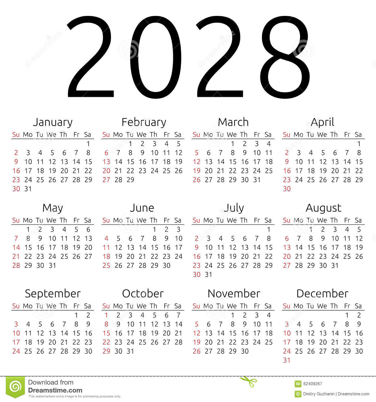 Simple 2028 year calendar, week starts on Sunday, EPS 8 vector.