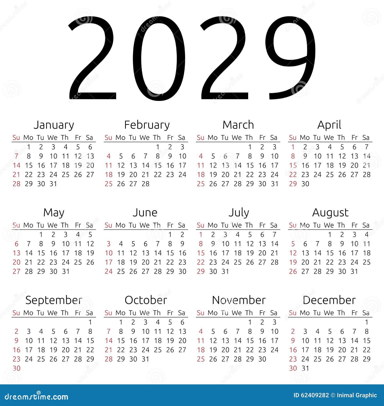 Vector Calendar 2029, Sunday Stock Vector - Image: 62409282