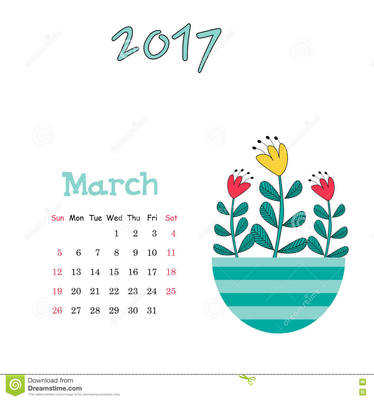 vector calendar template for march 2017 with cute vase of flowers