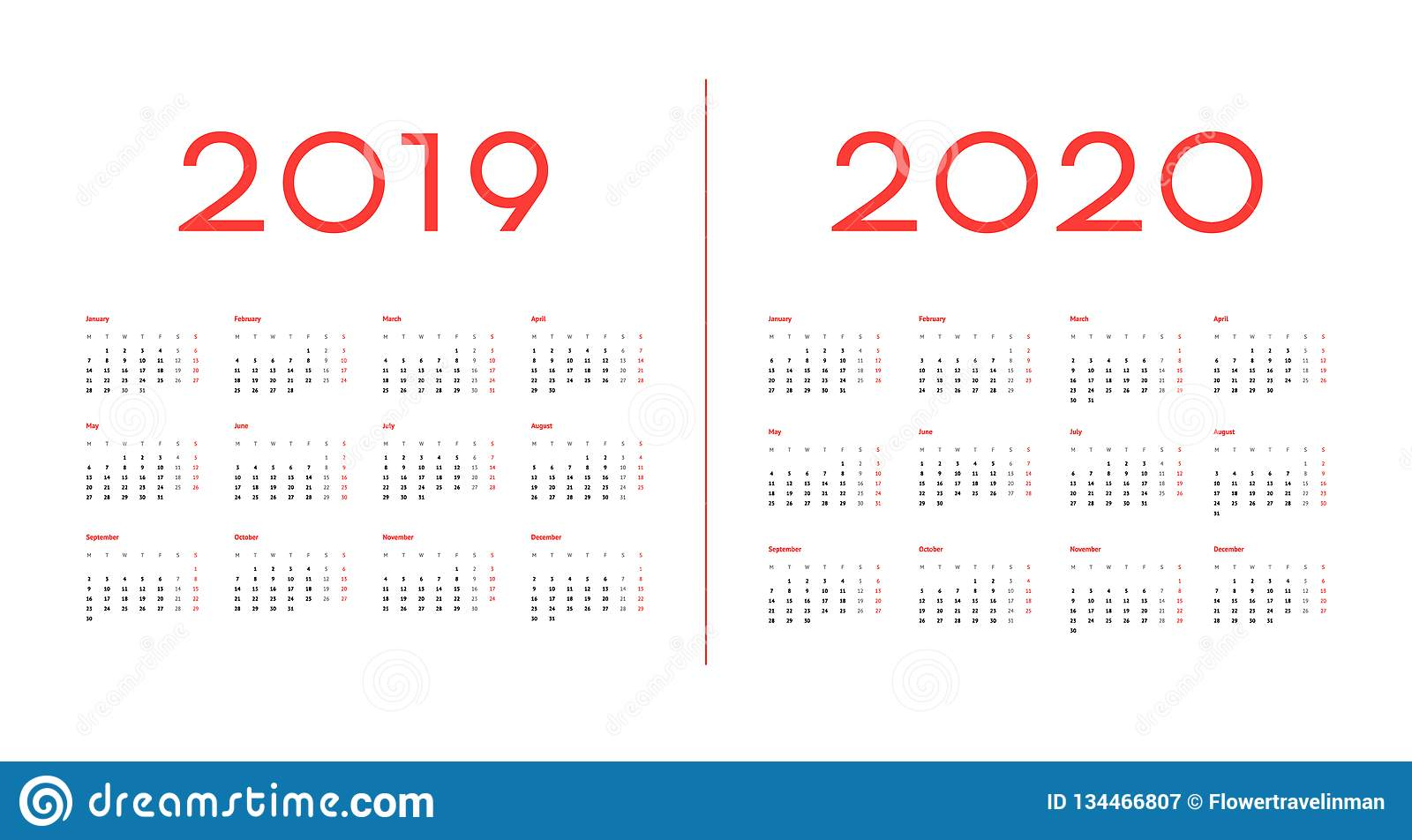 2019 and 2020 Calendar template vector image