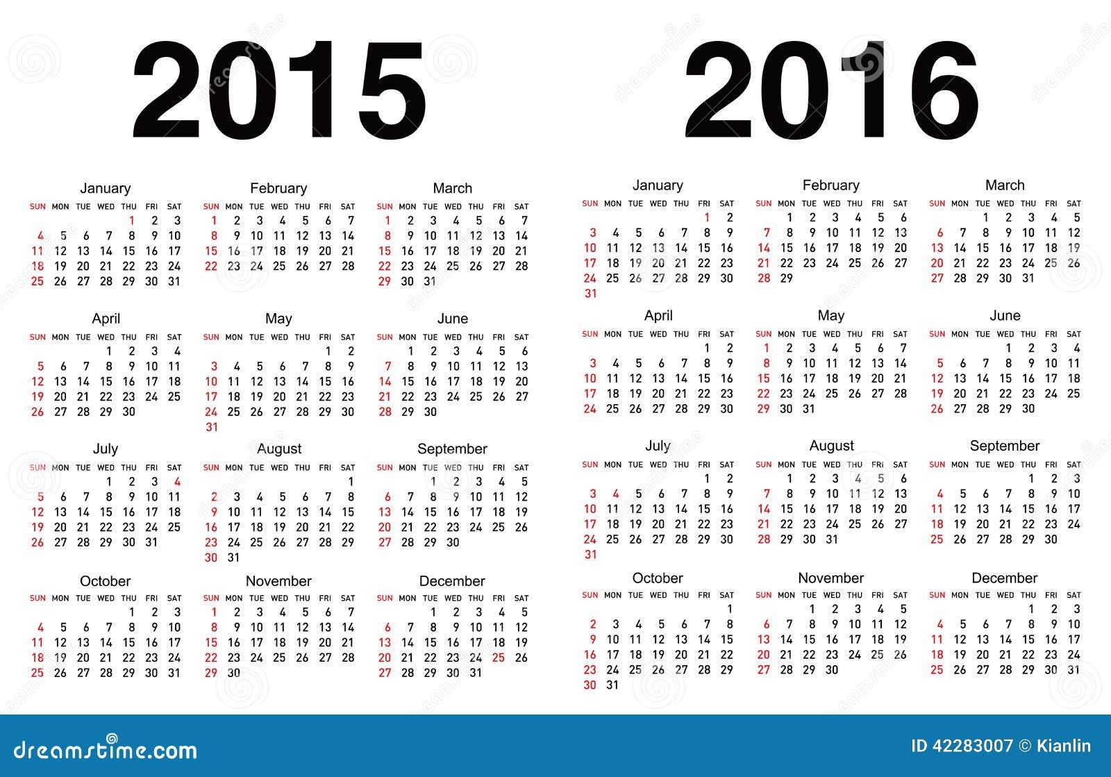Calendar Template Vector : Vector calendar template stock image