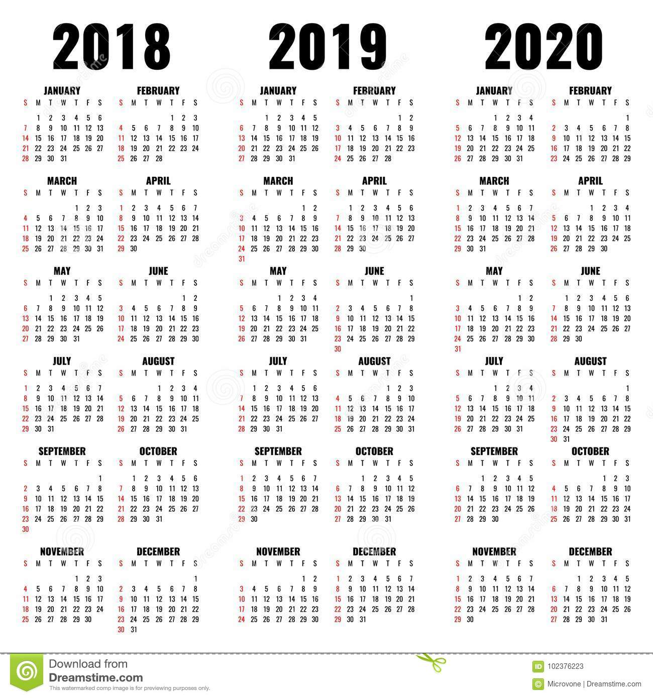 Calendario 2020 Vector Gratis.Vector Calendar Template 2018 2019 And 2020 Years Stock