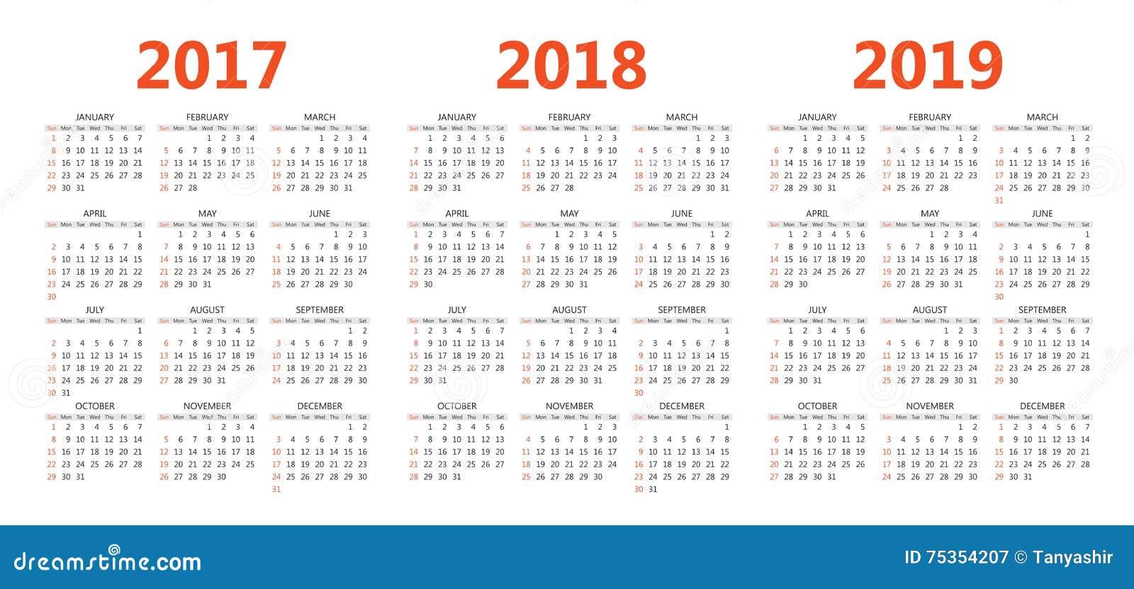 Calendario 18 19.Vector Calendar Templates 2017 2018 2019 Stock Vector