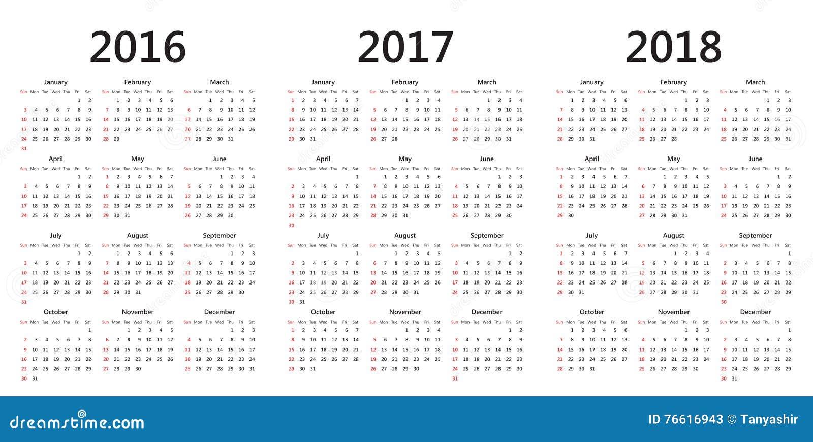 vector calendar templates 2016 2017 2018 stock illustration