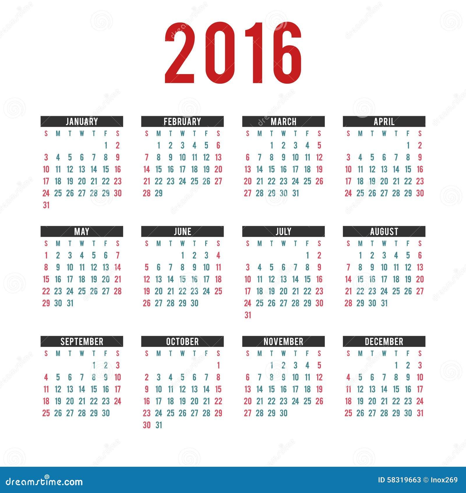vector 2016 calendar templates  stock vector
