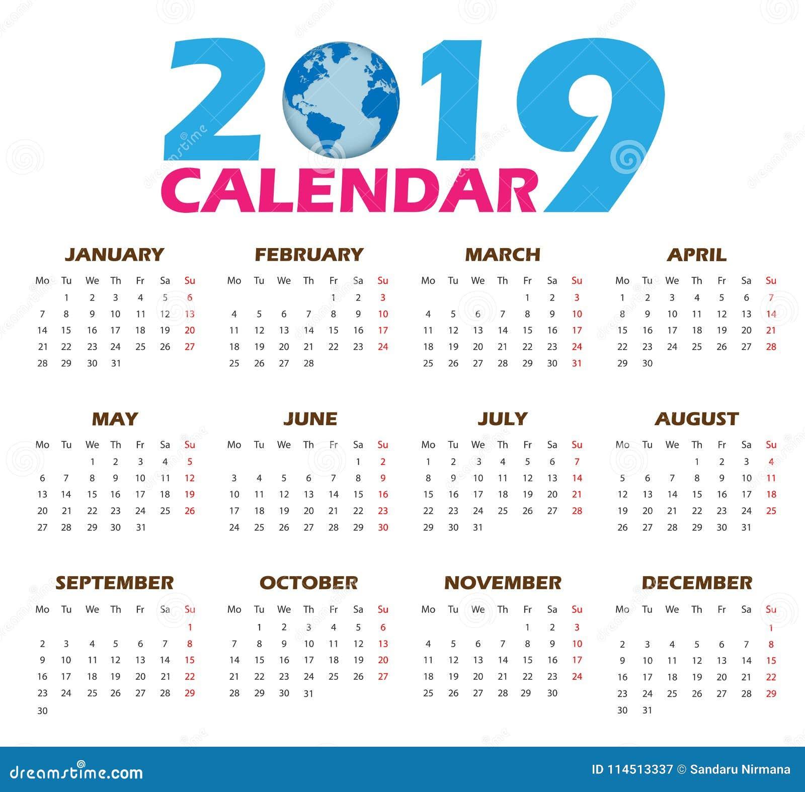 Calendario 2019 Illustrator.Vector Calendar Templates 2019 Stock Vector Illustration