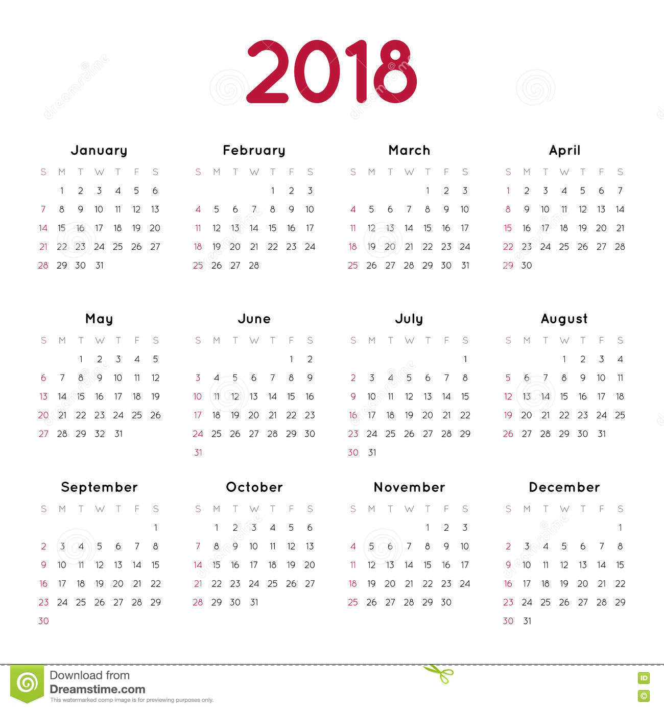 Vector calendar for 2018 on white background. Week starts from sunday ...