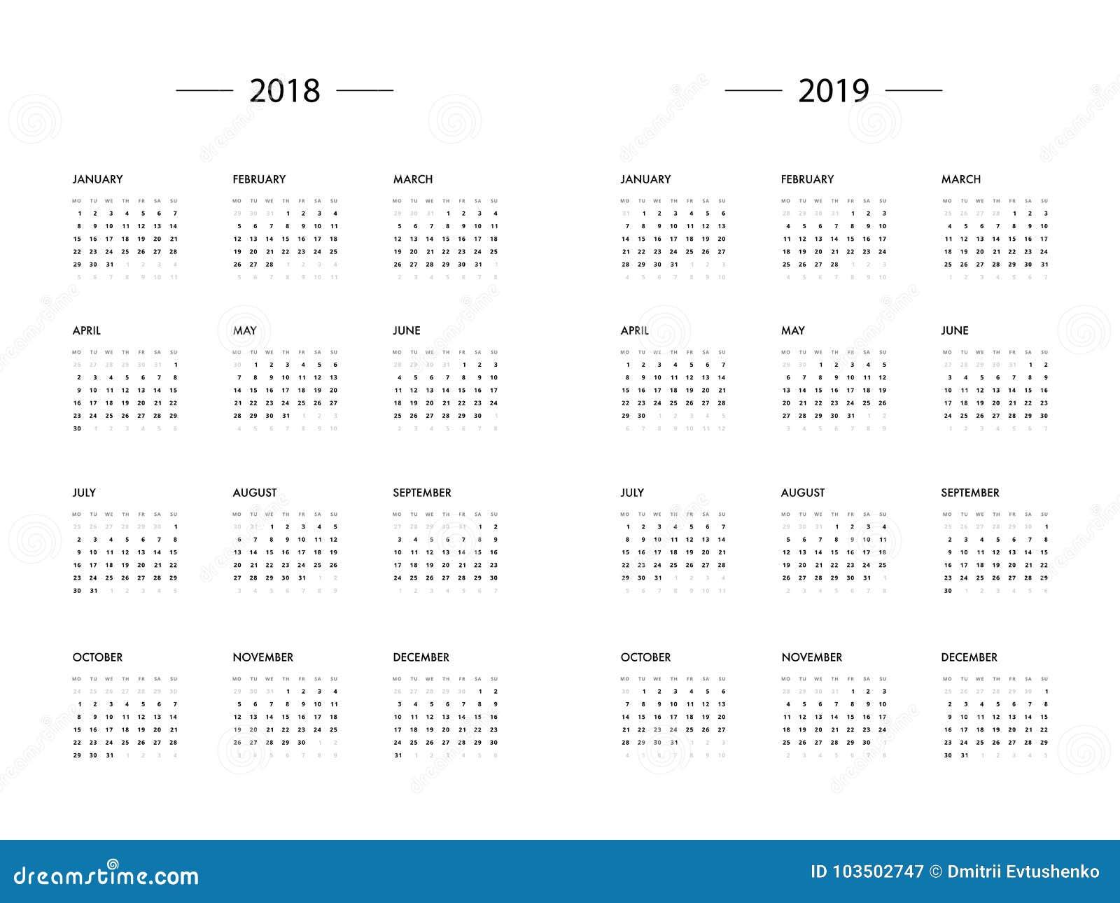 calendar 2018 2019 year template