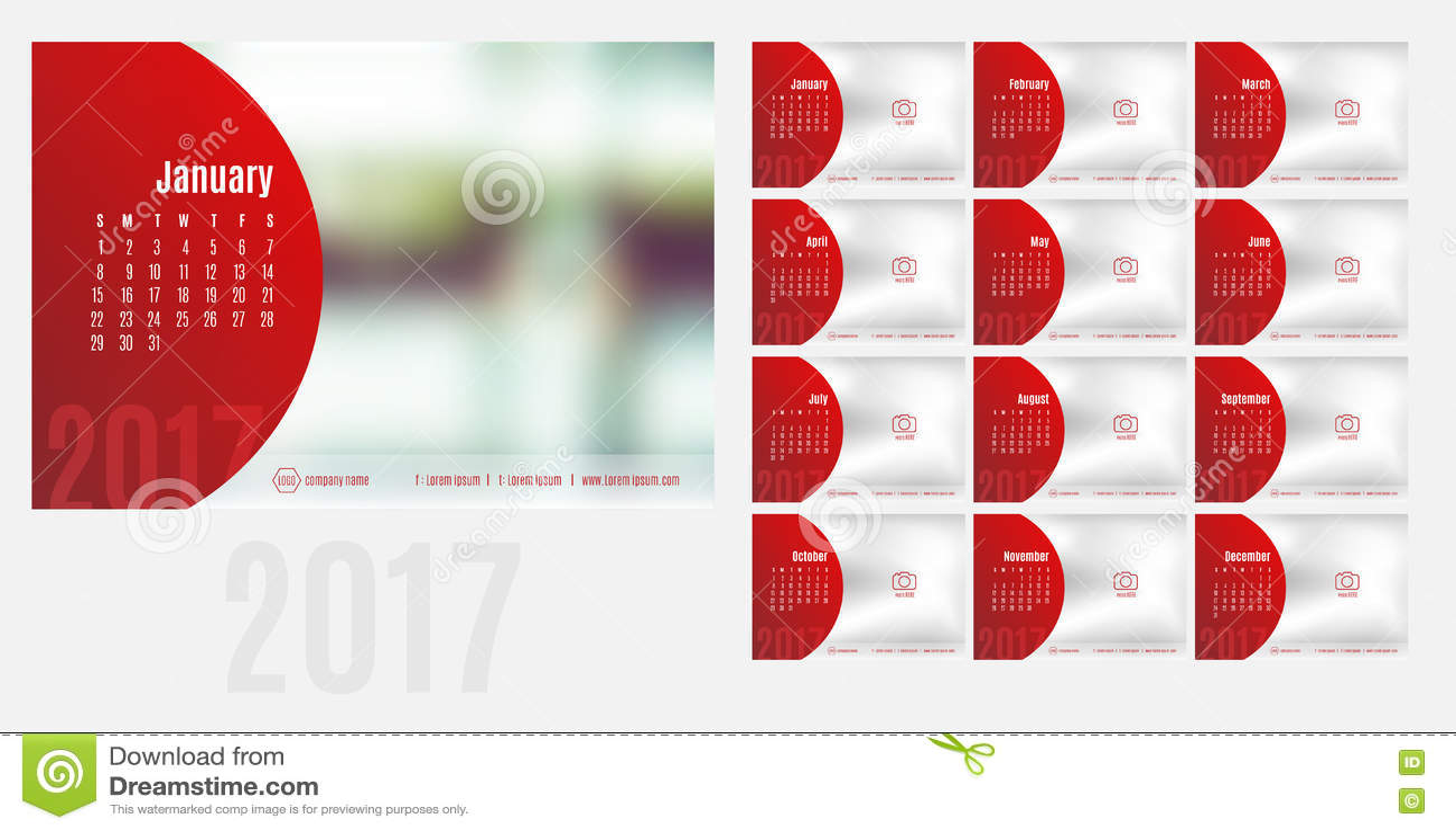 Vector of calendar 2017 year 12 month calendar with - Calendrier design ...