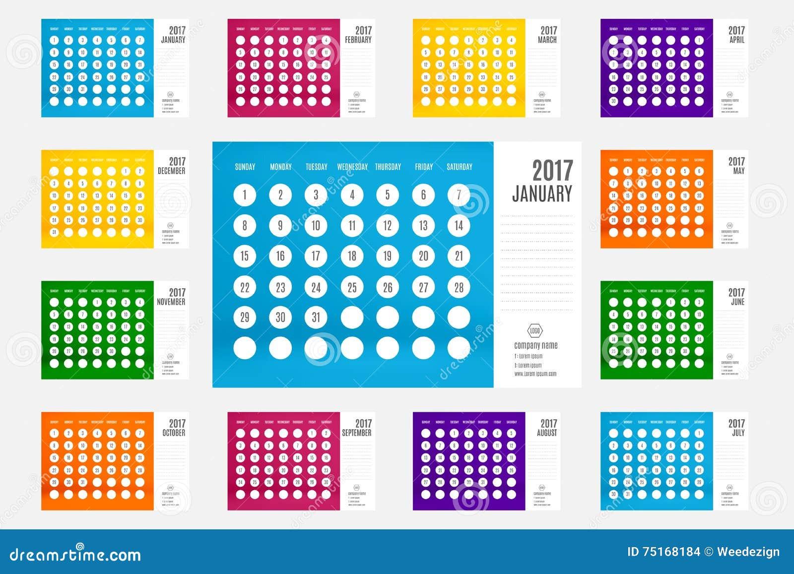 vector of calendar 2017 year 12 month calendar set with vivid c