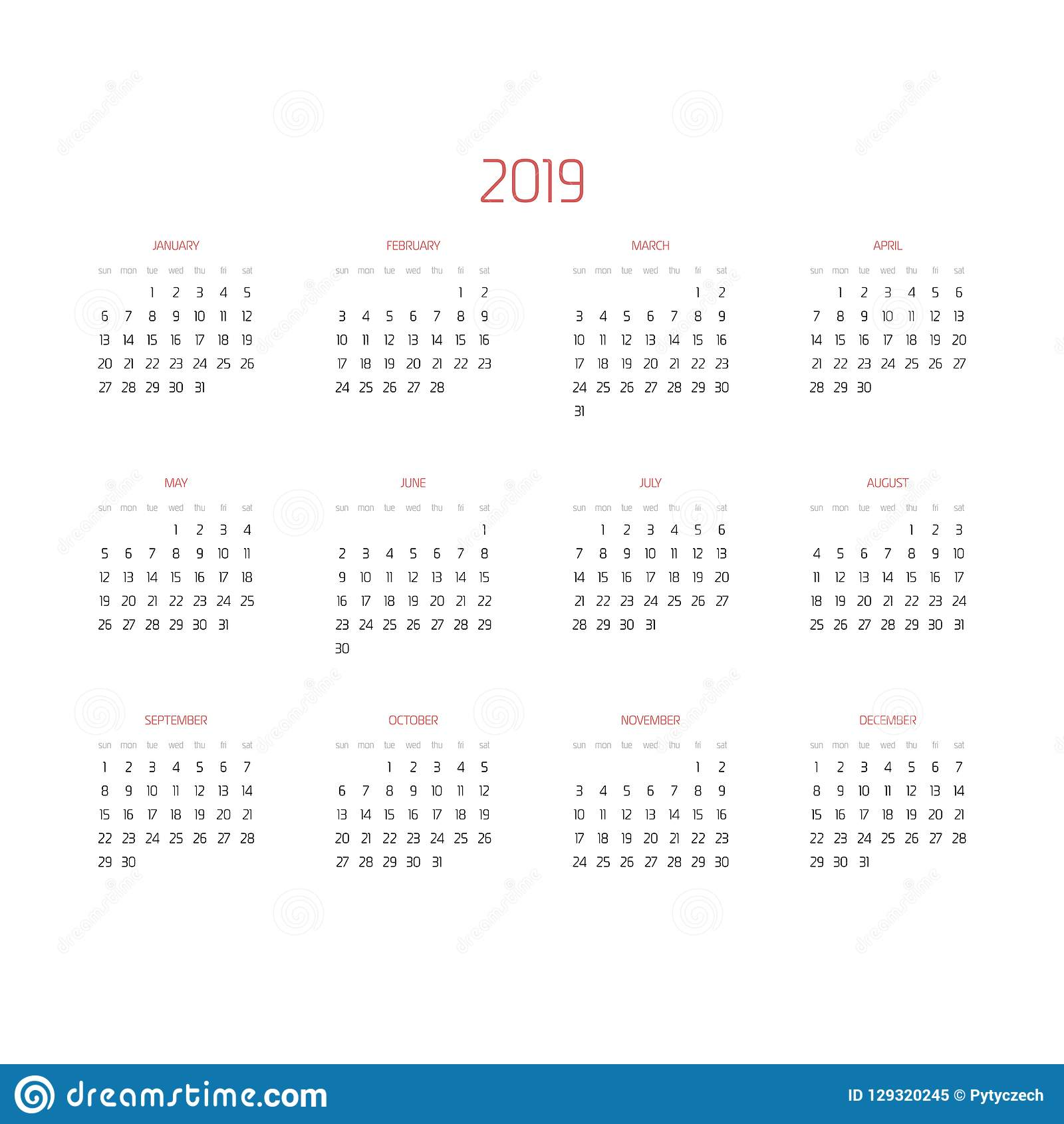 vector calendar year 2019 week starts from sunday simple flat vector illustration with