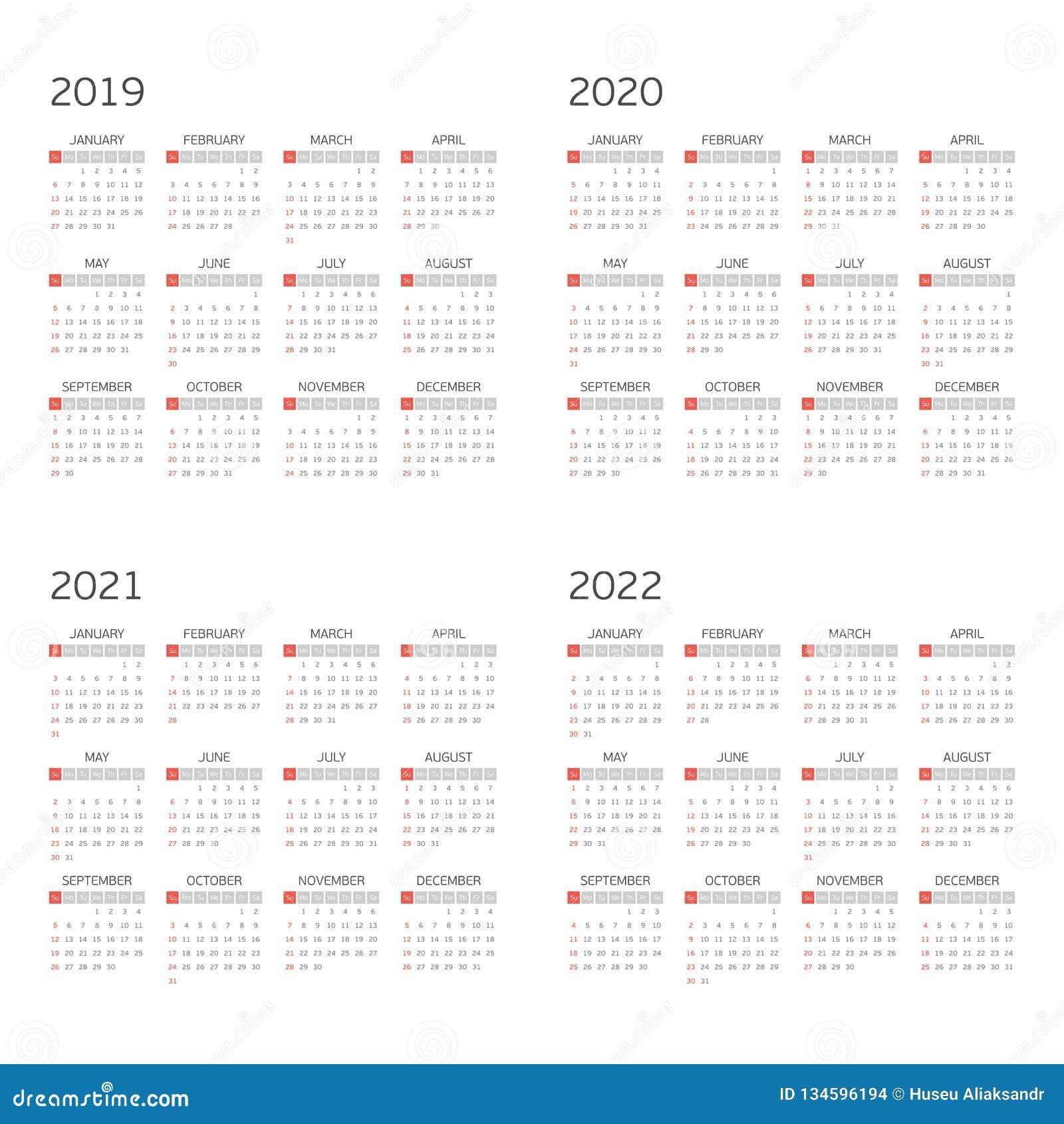 Vector calendar on 2019 2020 2021 2022.