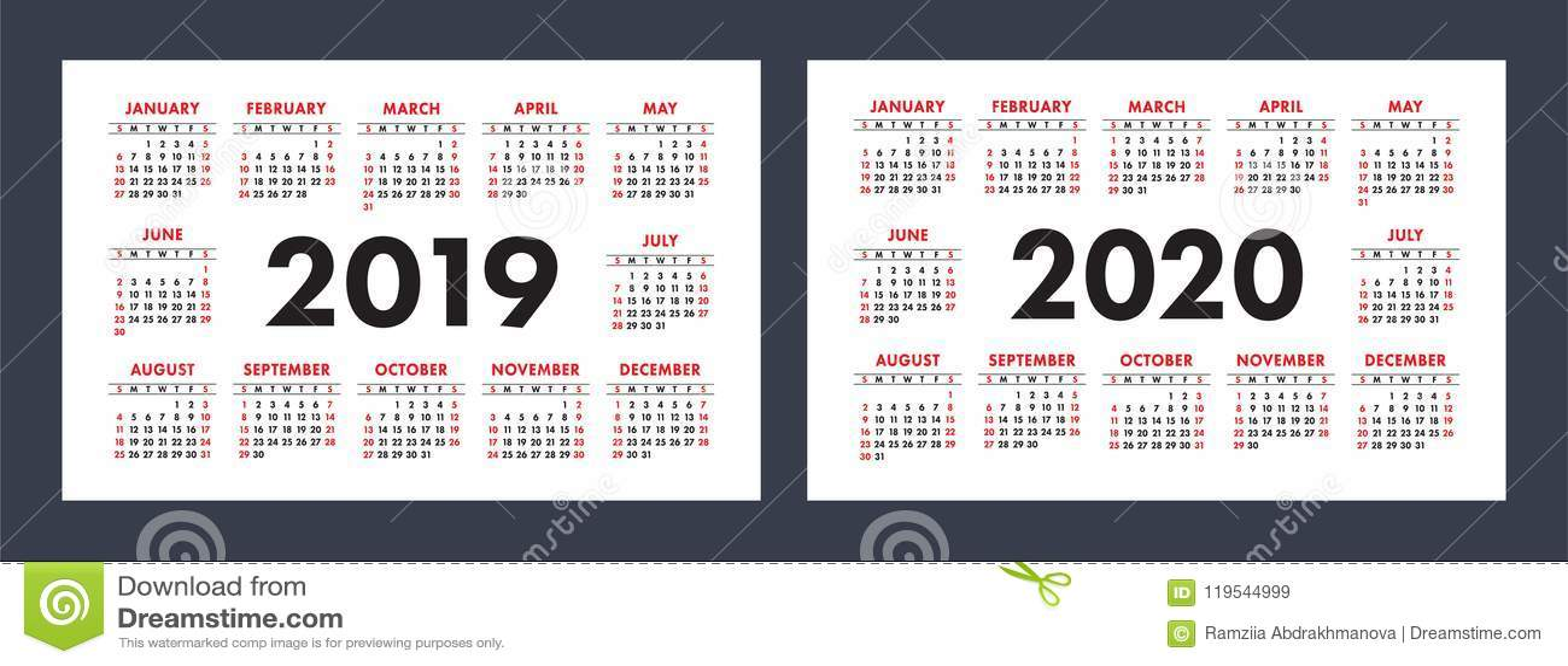 vector calendars 2019 and 2020 years basic minimalistic design