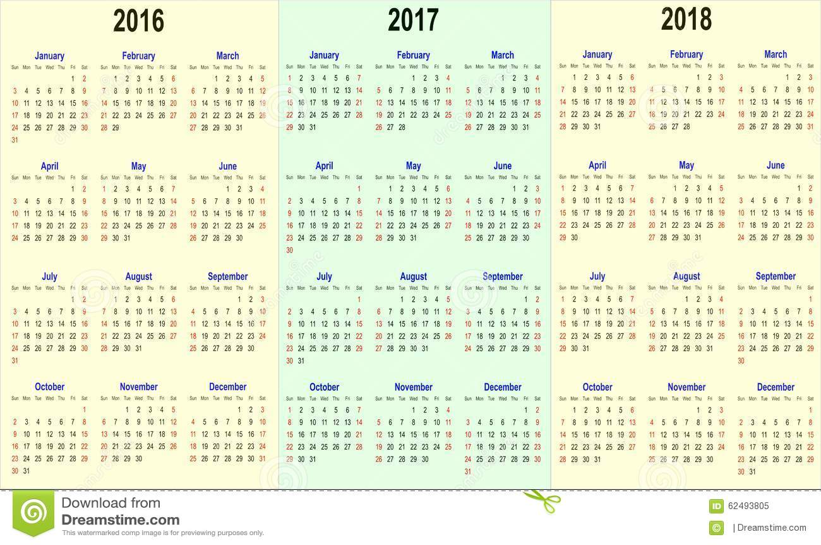 vector calender template 2016 2017 2018