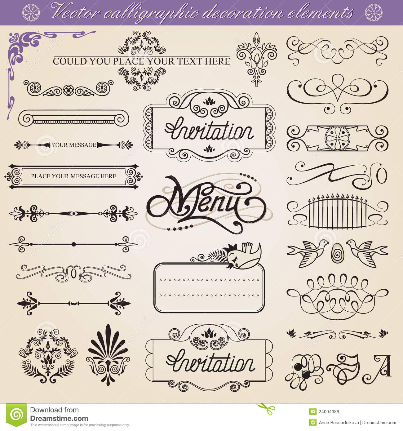 Vector calligraphic decoration elements set royalty free for Decoration elements