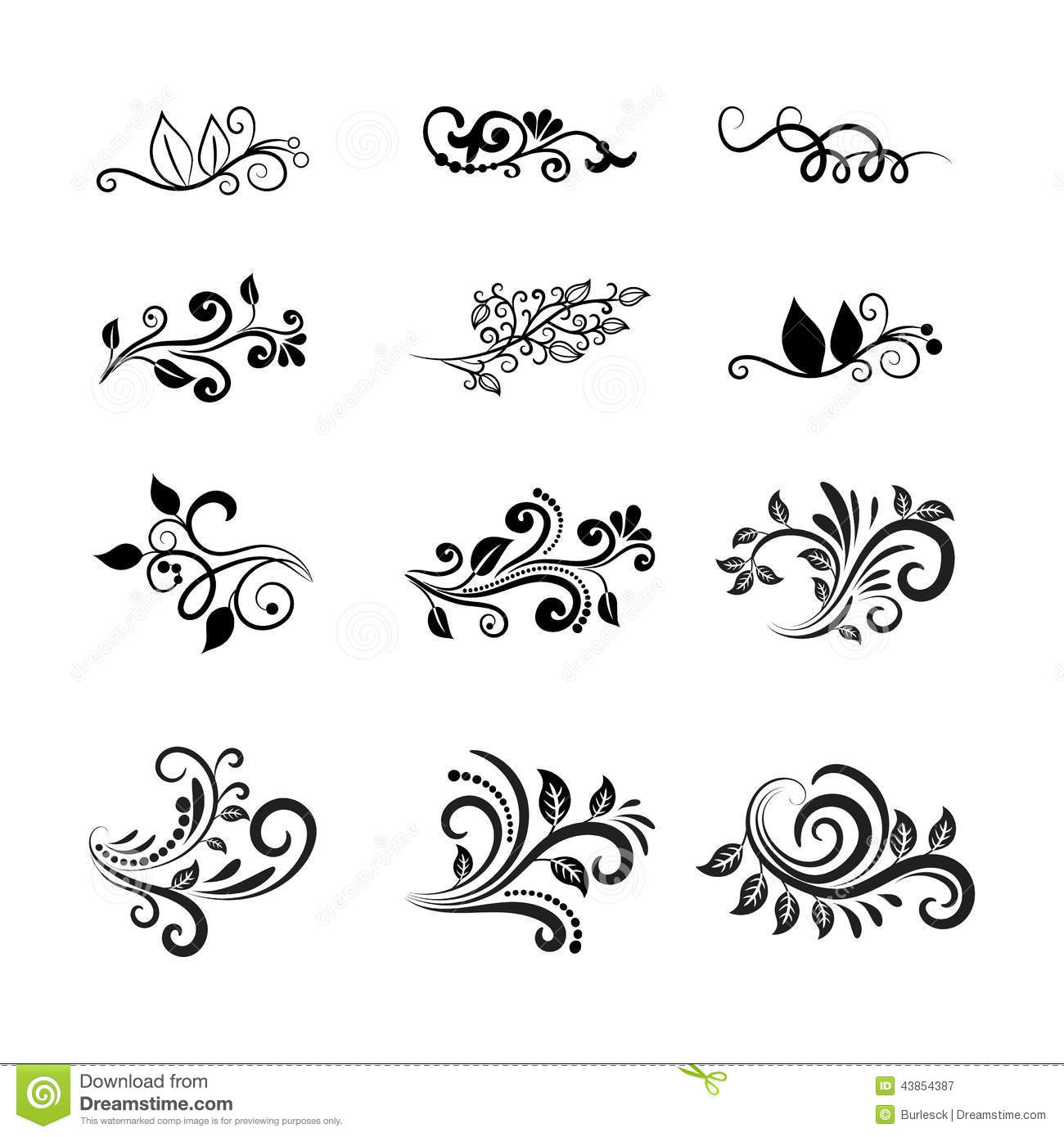 Elements For Design : Vector calligraphic floral design elements stock