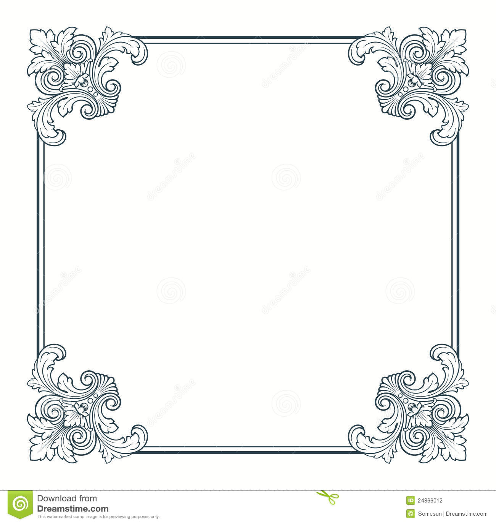 Vector Calligraphic Ornate Vintage Frame Border Stock