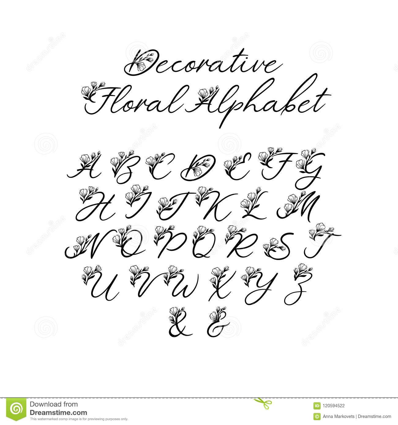 Vector Calligraphy Alphabet Floral Letters Decorative Handwritten