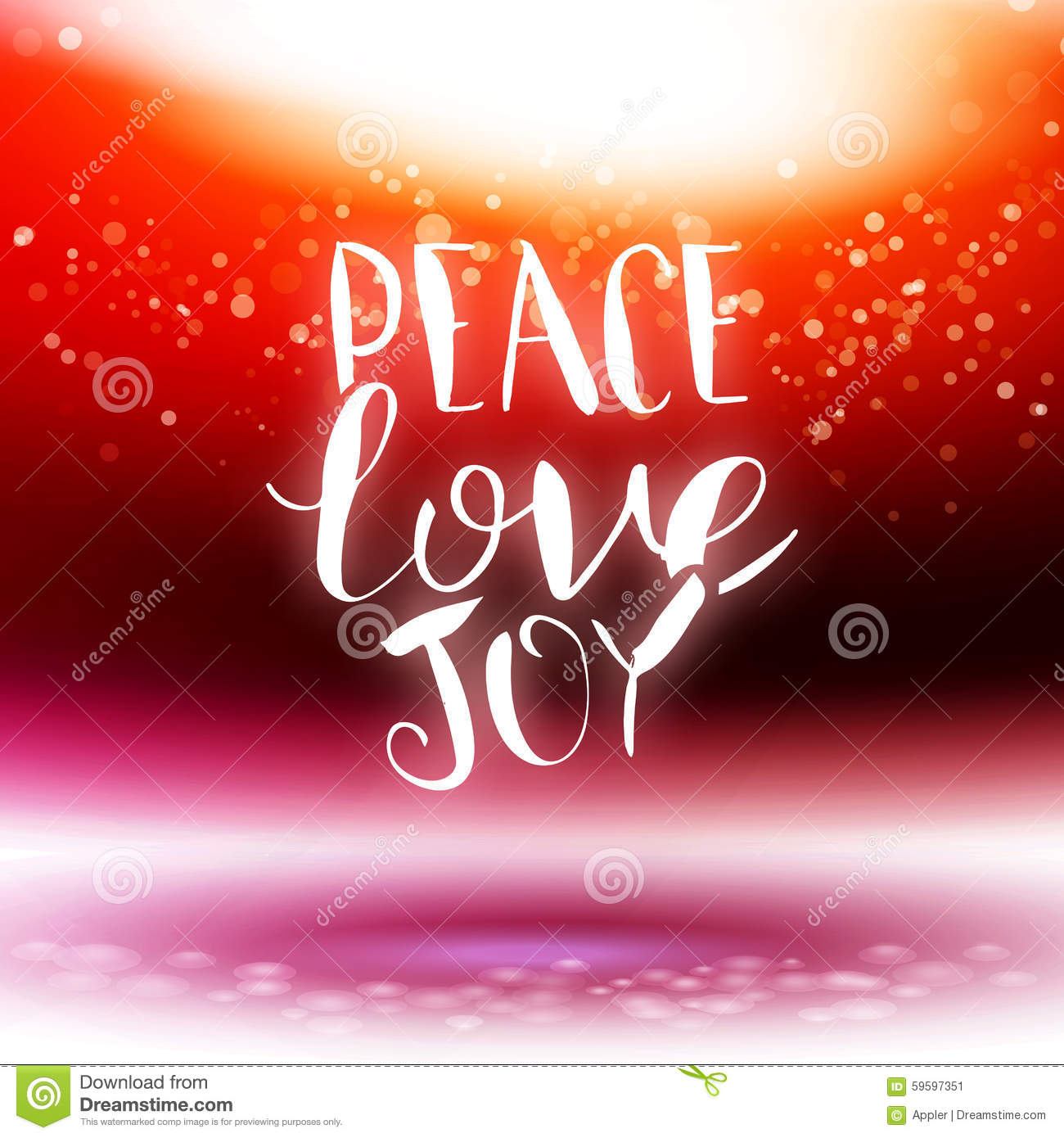 Vector Calligraphy Peace Love Joy Stock Vector Illustration Of