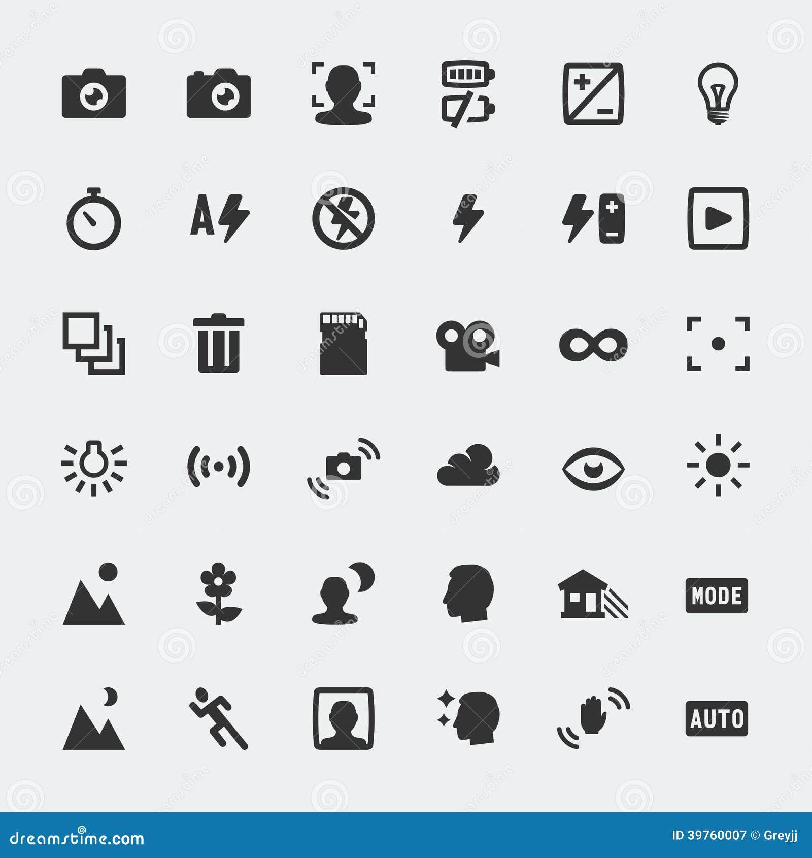 Vector Camera Functions Mini Icons Set Stock Vector