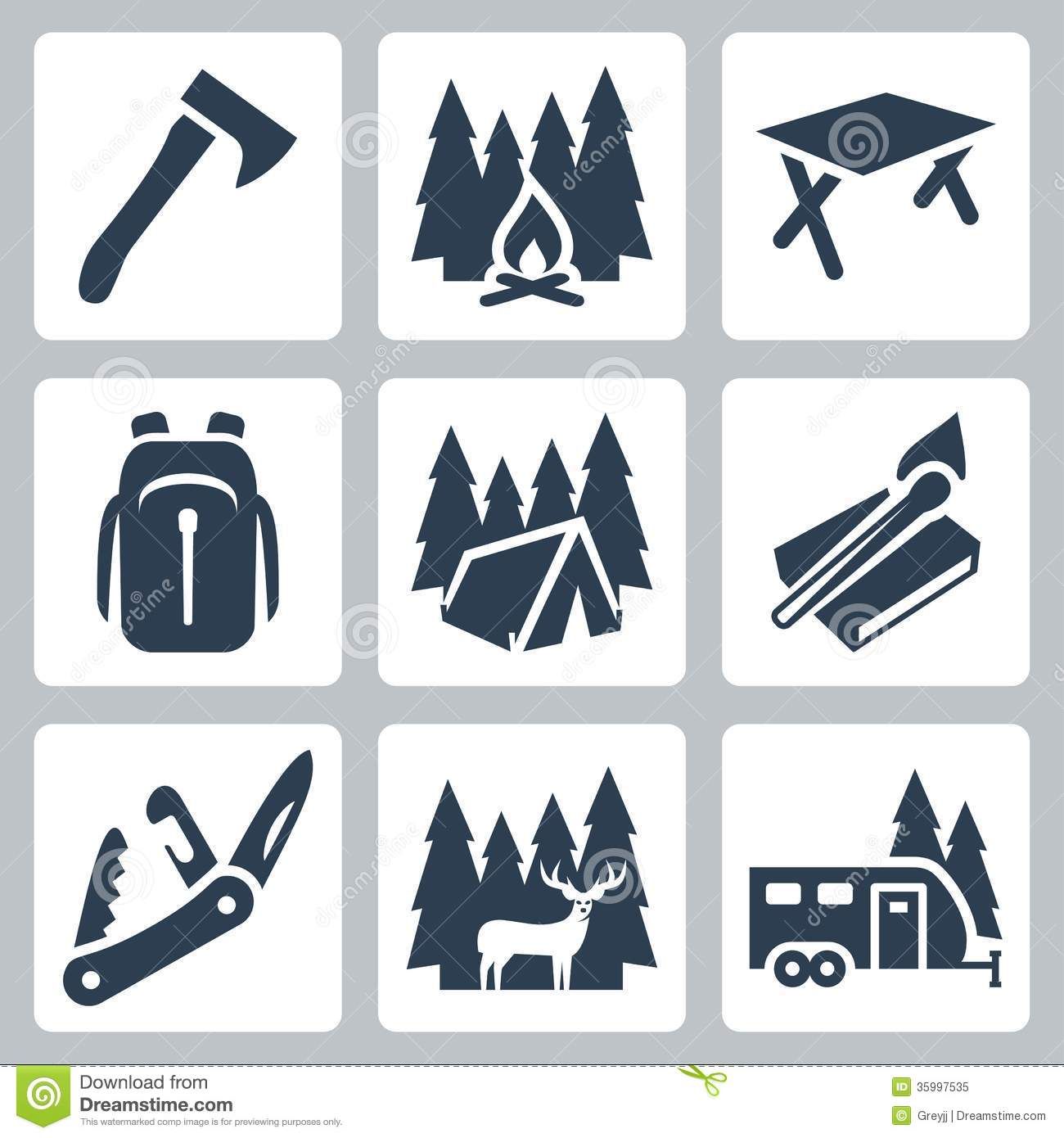 Vector Set Of Camping Labels In Vintage Style. Design ...