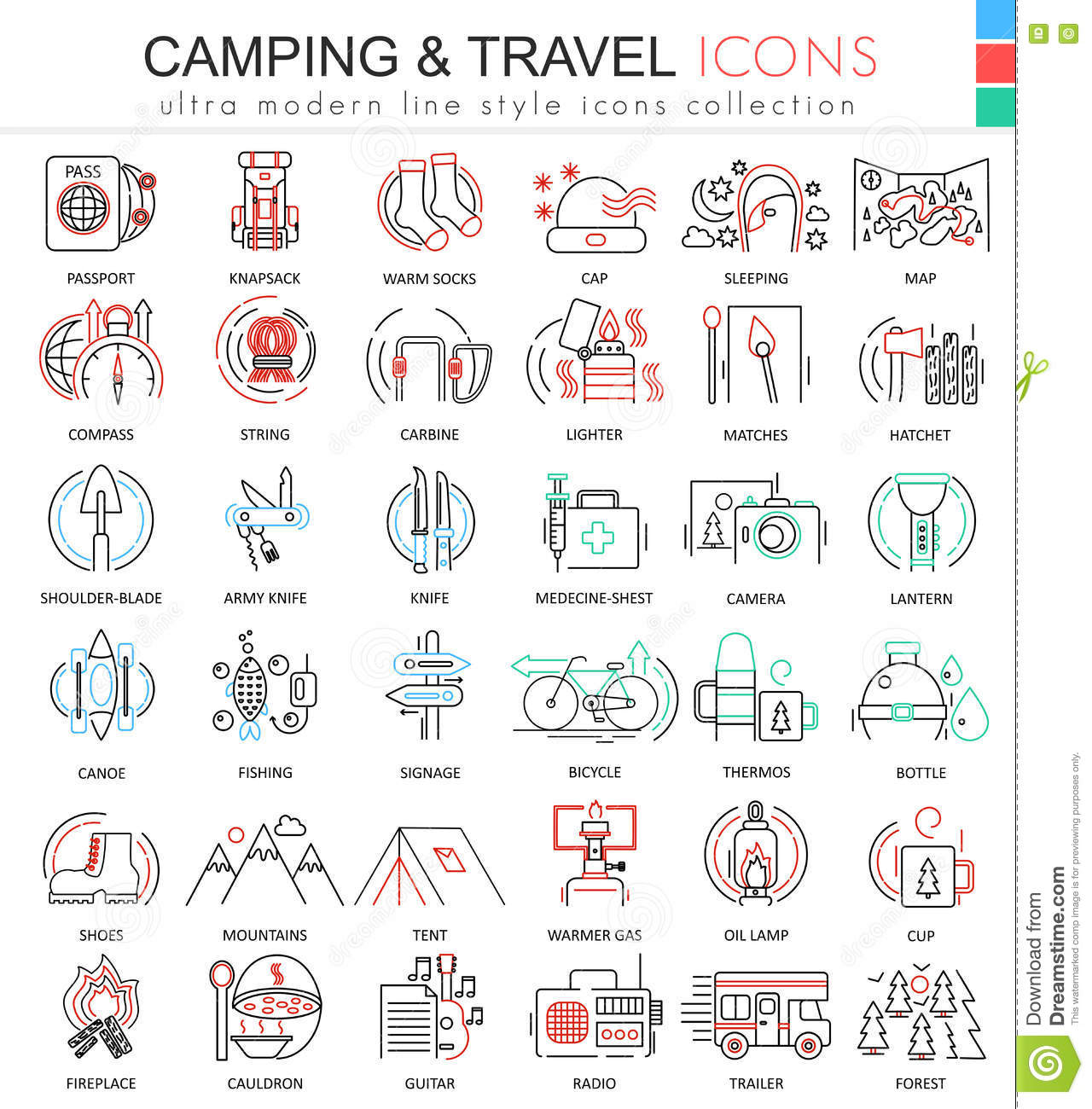 Modern colors web design - Modern Colors Web Design Vector Camping Nature Adventure Ultra Modern Color Outline Line Icons For