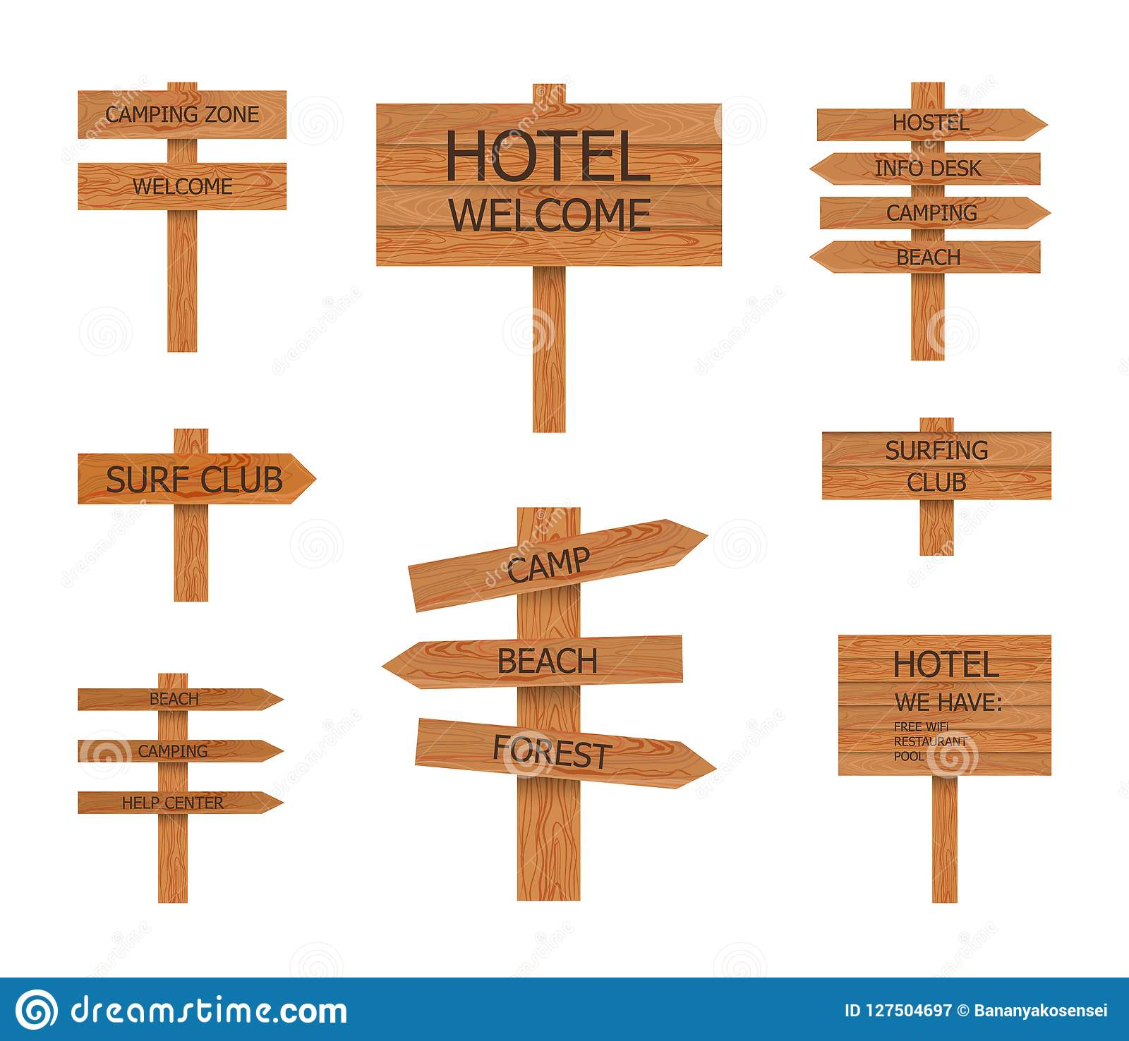 Vector Camping Wooden Signs Collection Beach Pointer Illustrations