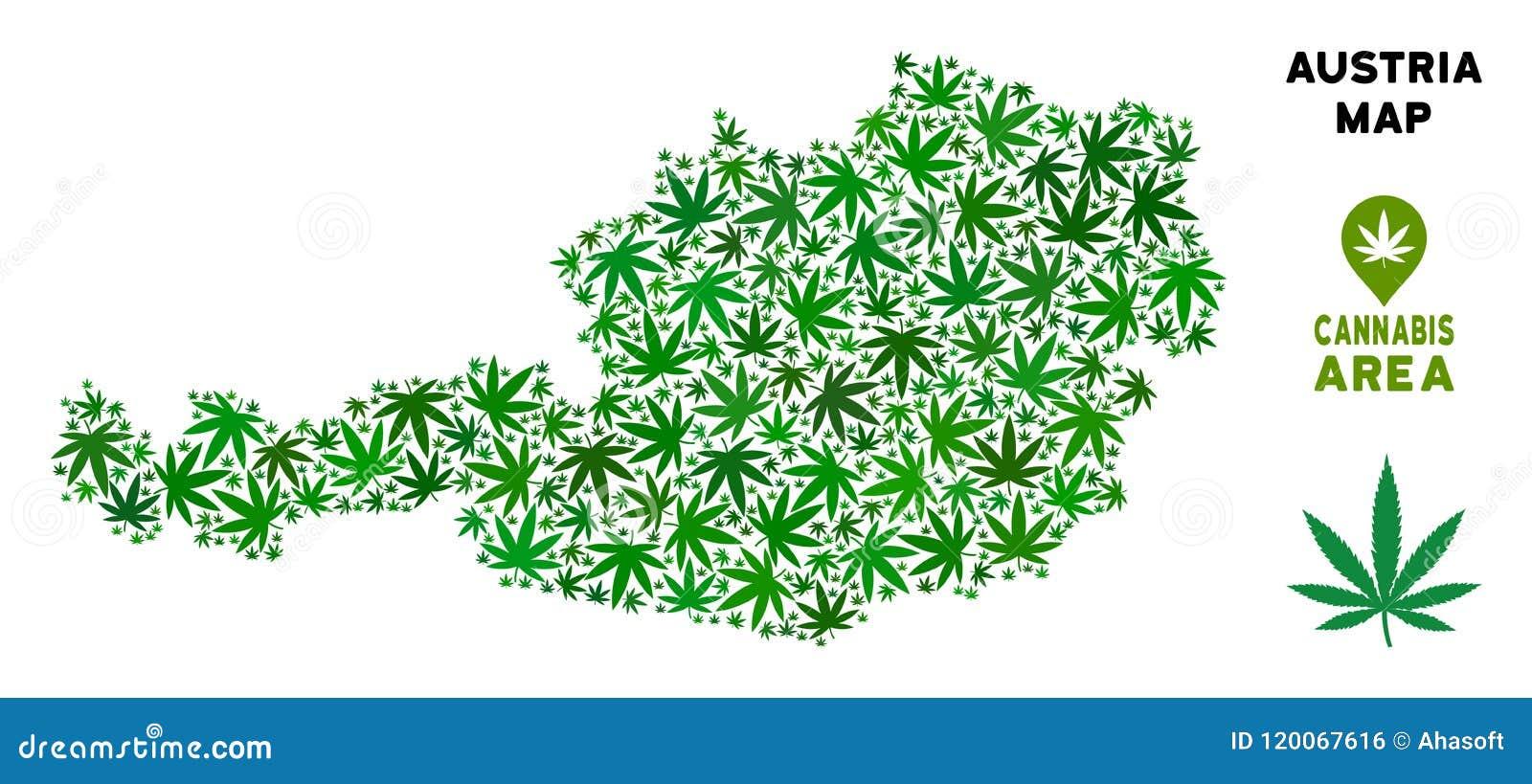 Vector Cannabis Mosaic Austria Map Stock Vector