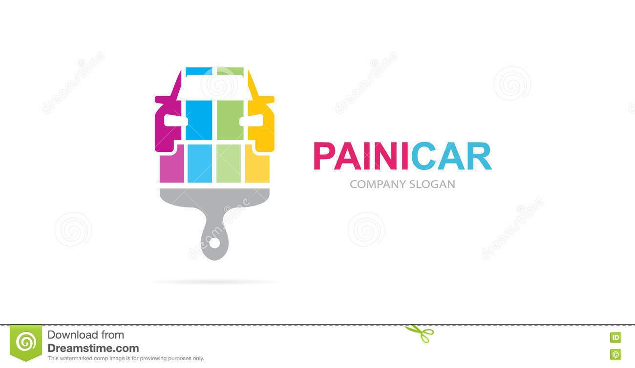 Vector Of Car And Brush Logo Combination Auto And Paintbrush Symbol
