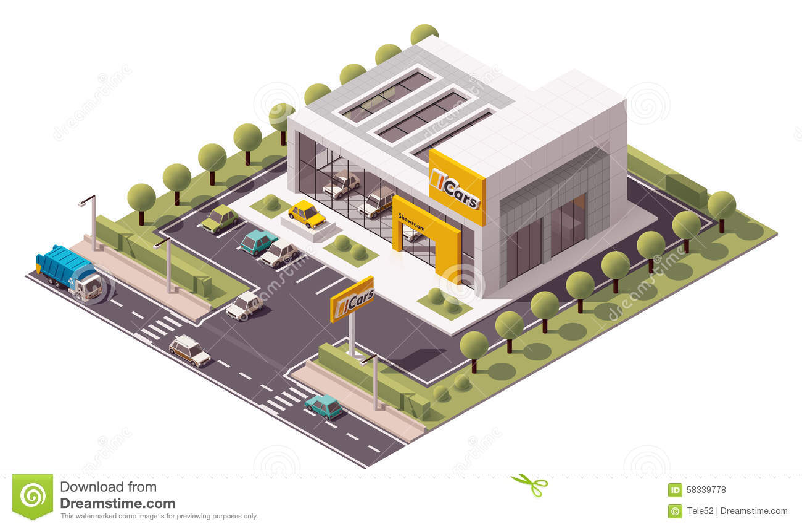 Vector Car Showroom Stock Image 58339778