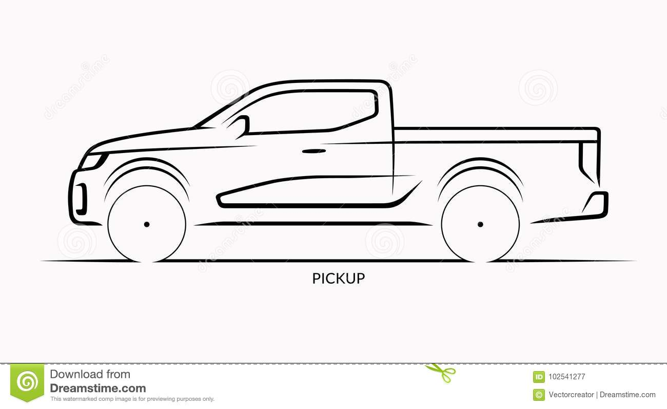 Vector Car Silhouette Side View Of Pickup Stock