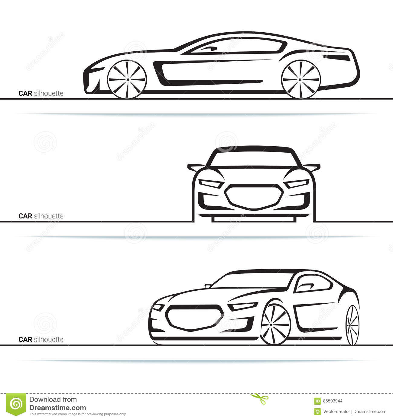 vector car silhouettes set front three quarter and side view stock vector illustration 85593944. Black Bedroom Furniture Sets. Home Design Ideas