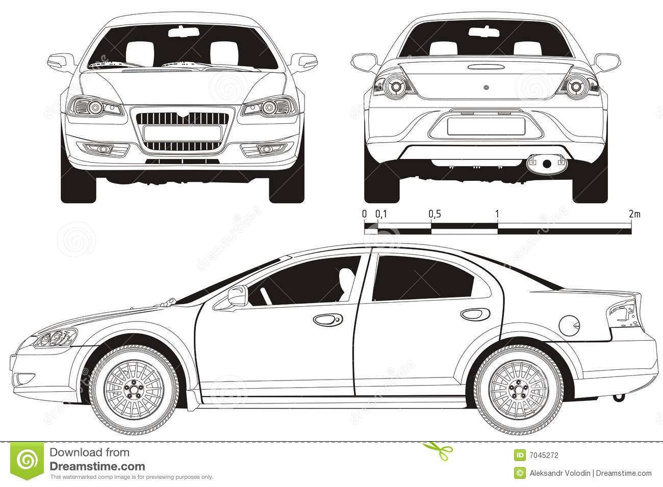 Vector car technical draft stock photography image 7045272 for Medidas de un carro arquitectura