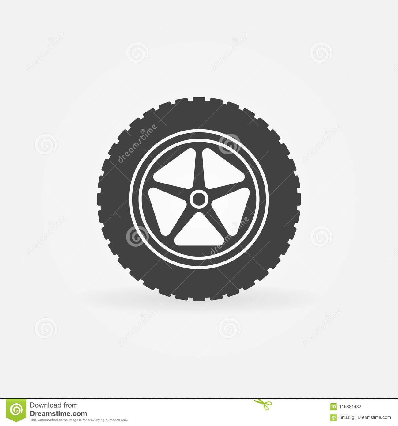 c74e973dab07ce Vector Car Wheel With Tire Icon Or Logo Element Stock Vector ...