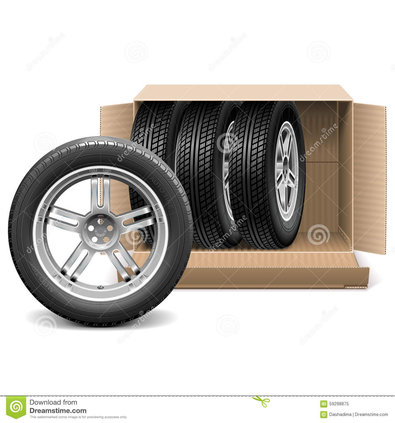 Download Vector Car Wheels In Carton Box Stock Vector - Illustration of inside, packaging: 59298875