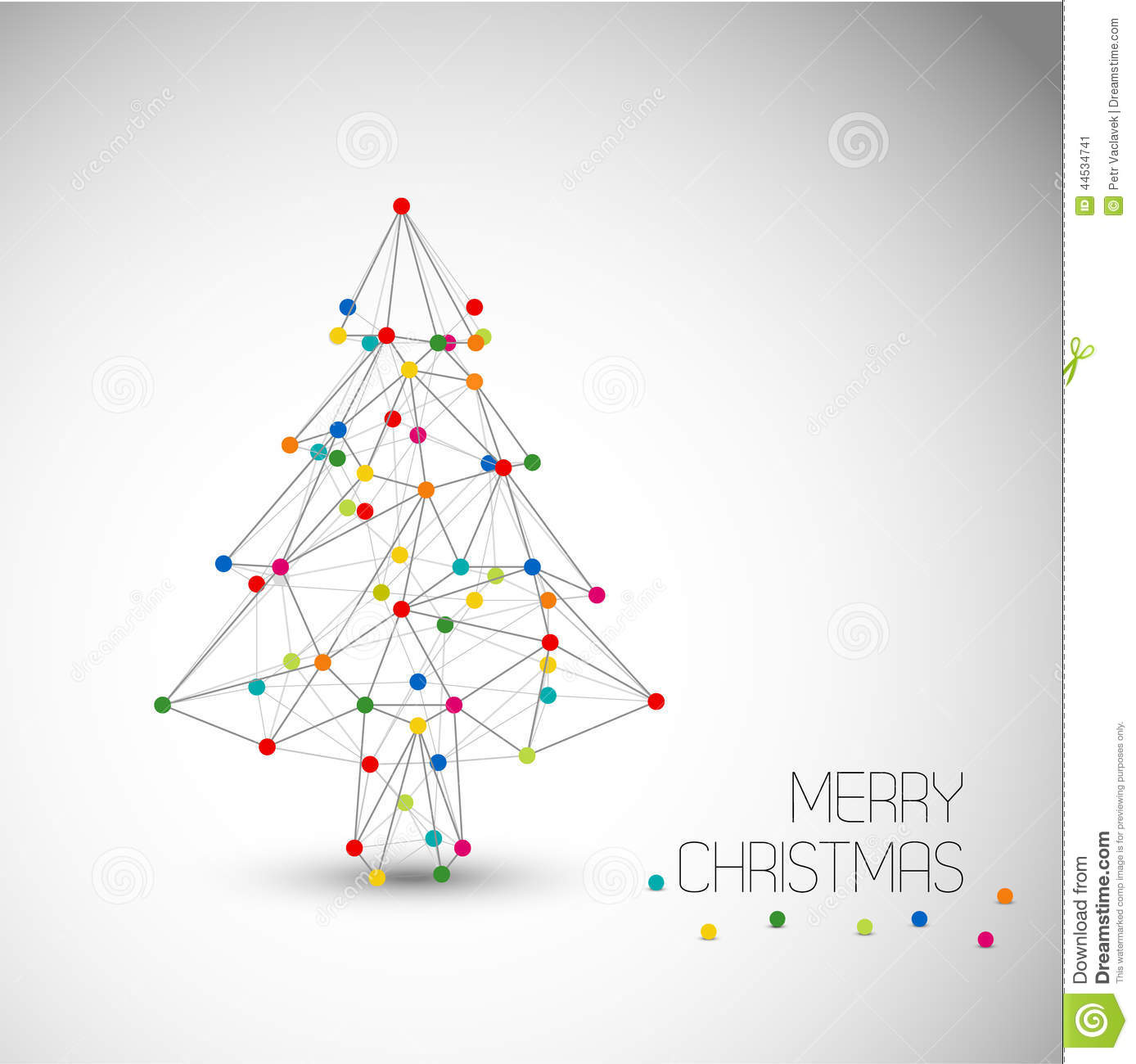 Vector Card With Abstract Christmas Tree Made From Lines And Dots ...