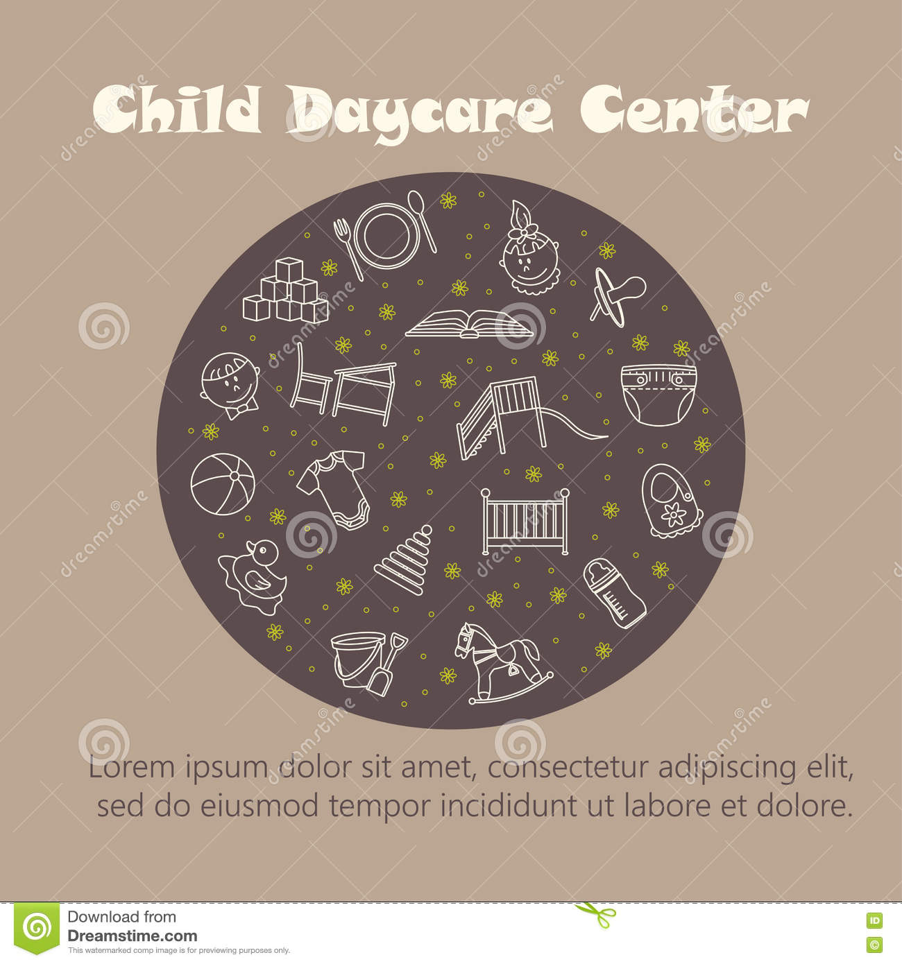 Baby cribs for daycare centers - Vector Card With Baby Thin Line Icons Stock Vector