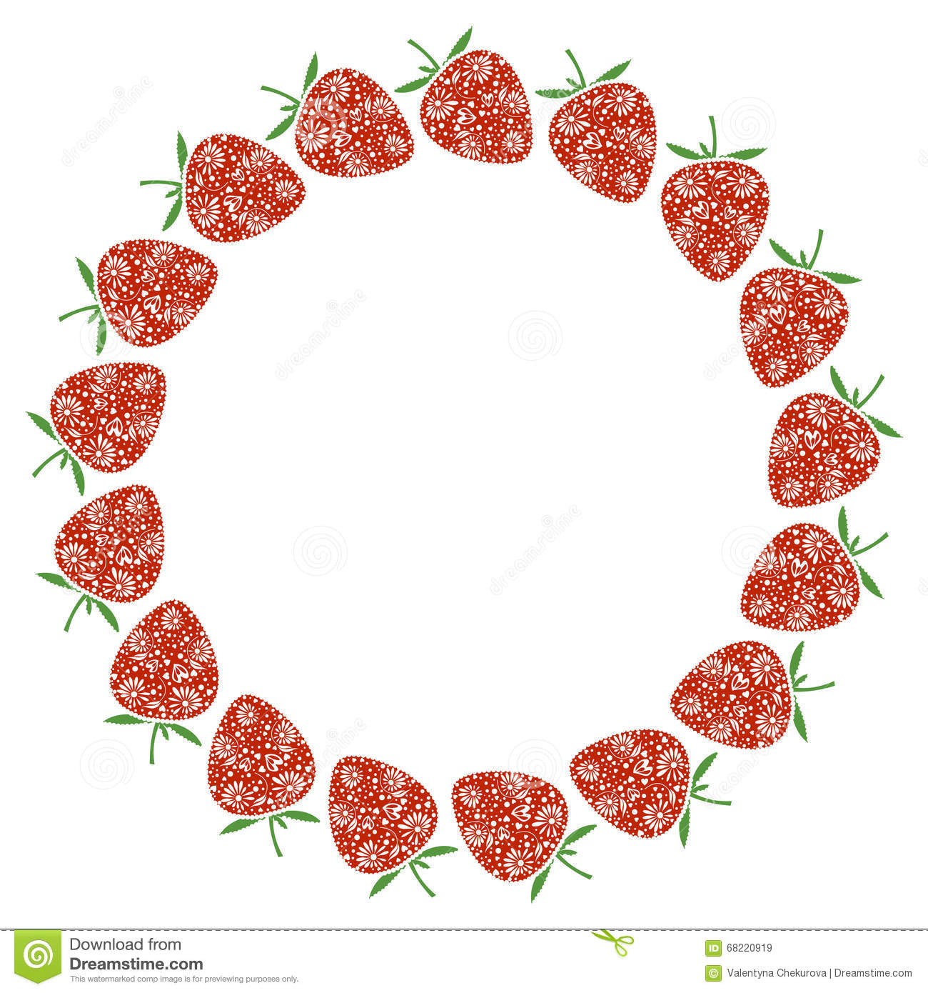Vector Card With Berries Empty Round Form With Ornamental