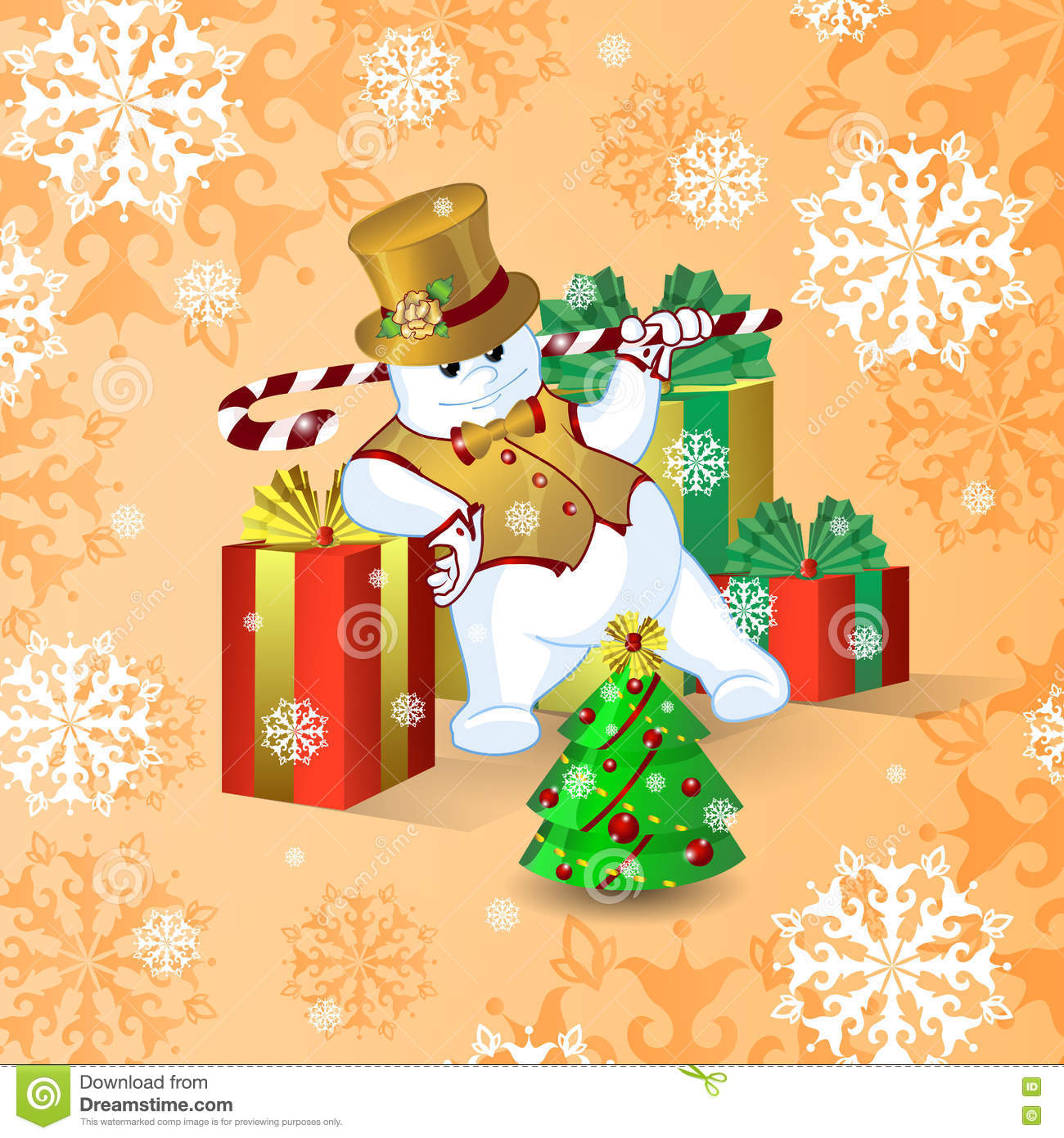 download vector card for christmas or new year dancing snowman in a gold top hat
