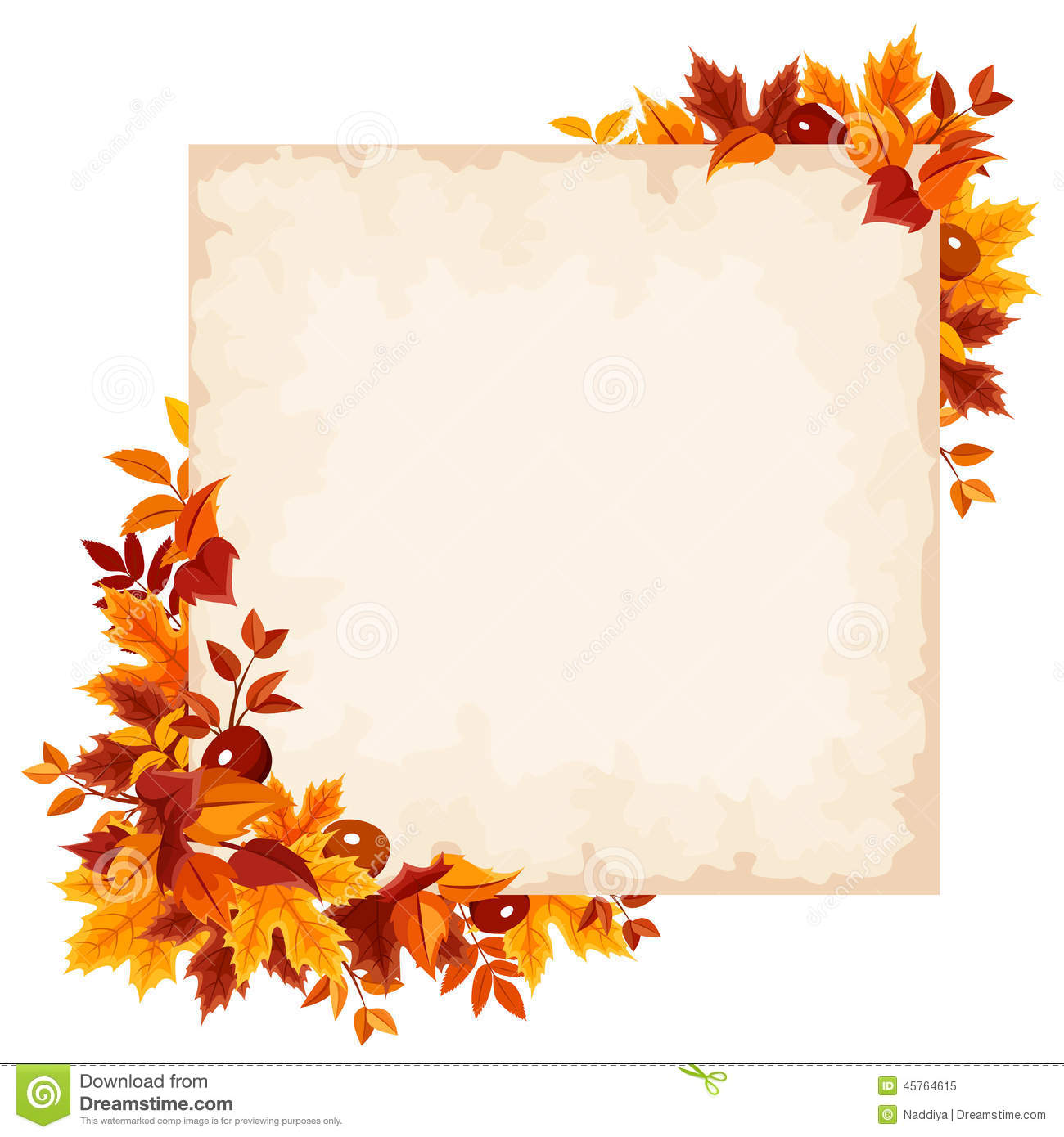 Vector Card With Colorful Autumn Leaves. Stock Vector
