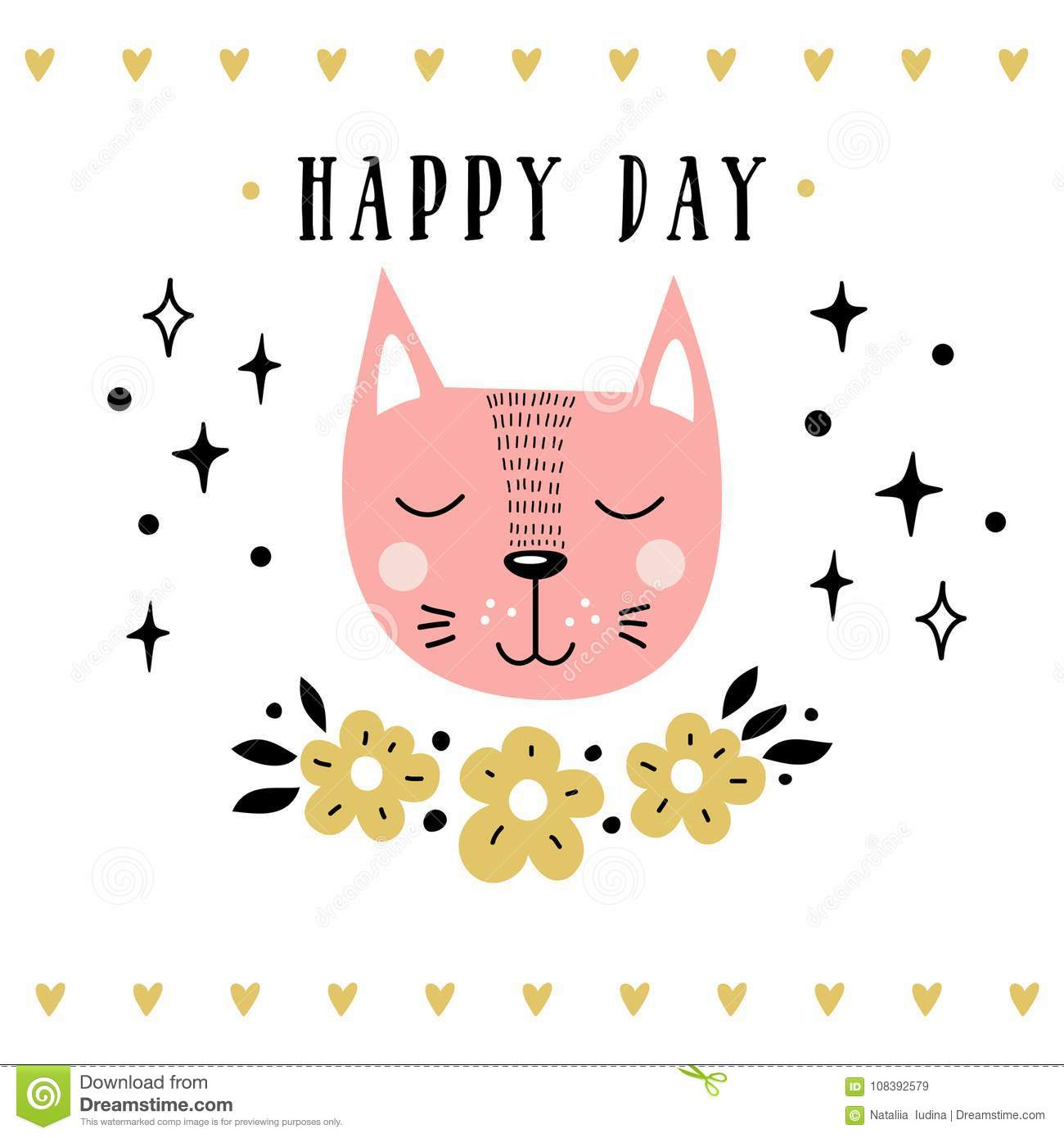 Vector Card With Cute Cat Illustration For Childrens Prints