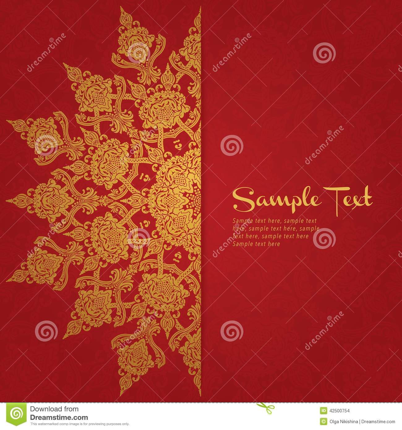 Vector Card In East Style On Red Background Stock Vector