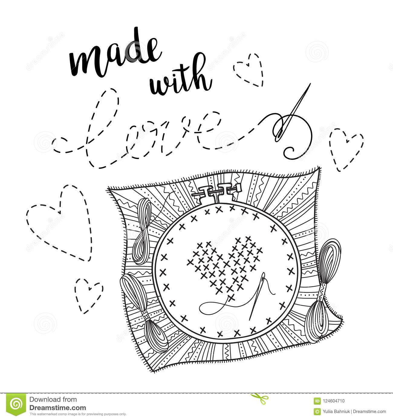Vector Card Embroidery Theme With Lettering Stock Vector ...