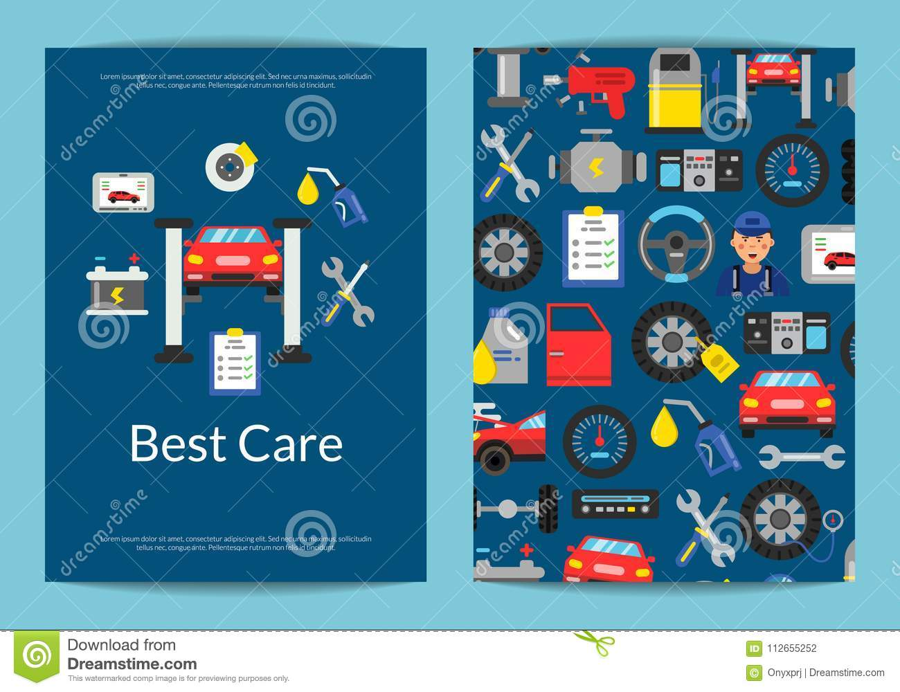 Vector Card, Flyer Or Brochure Template For Auto Service Stock ...