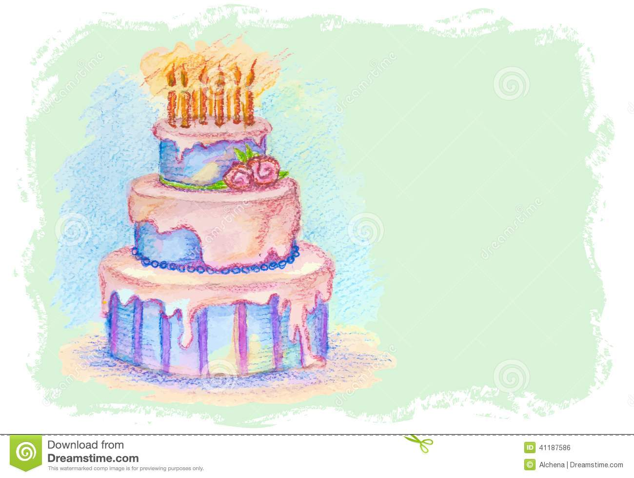 Cake Images Card : Vector Card With Hand Drawn Birthday Cake Stock Vector ...