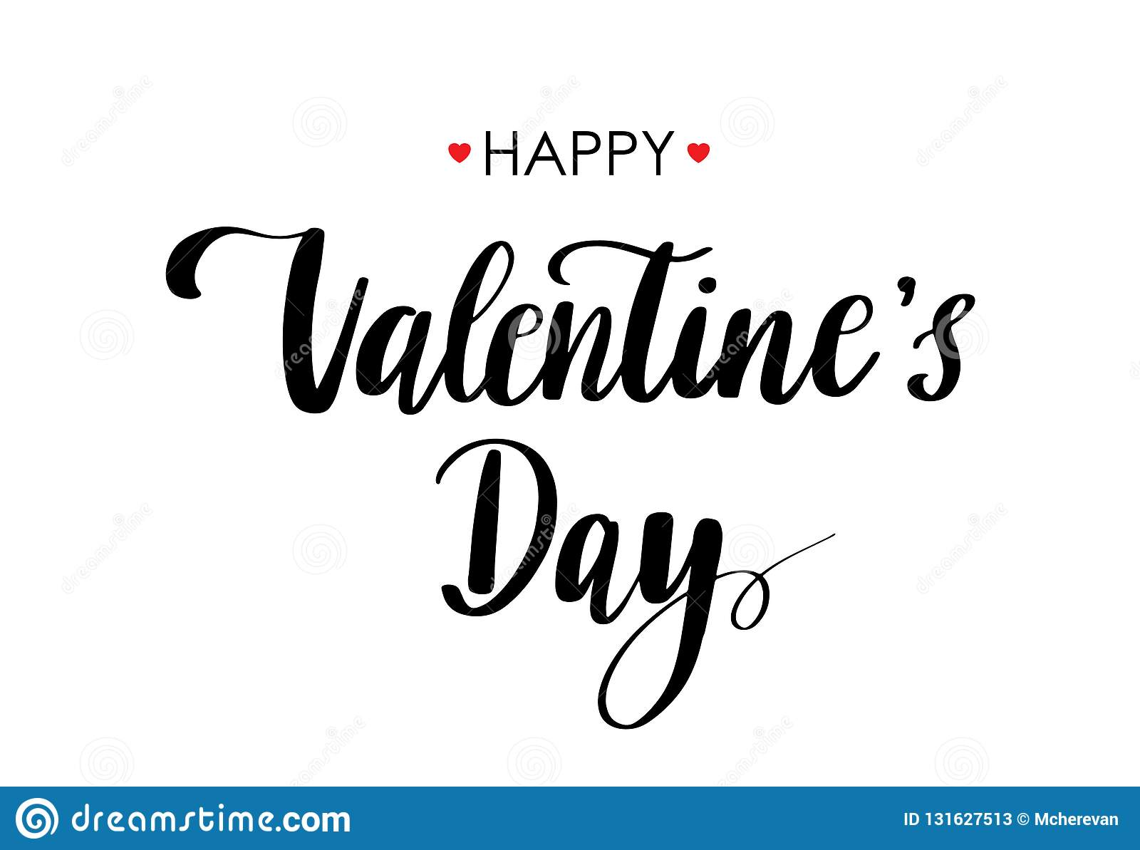 Vector Card Happy Valentines Day. Lettering Quote Black On ...