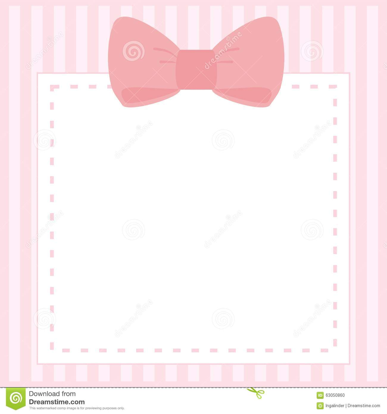 Vector Card Or Invitation With Stripes And Sweet Bow Stock