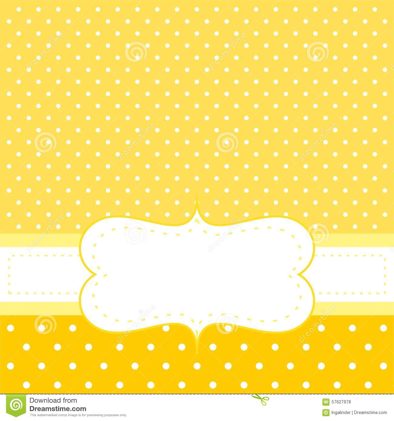 Vector Card Or Invitation With Yellow Background, White ... Yellow Baby Shower Background